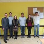 M. Maillebuau (Immobilier), M. Foucras (Commerce International) et M. Defruit (RH) entourés par Céline Arnal et Jordan Francoual.
